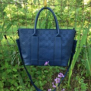Christian Lacroix Handbag Logo Embossed Navy